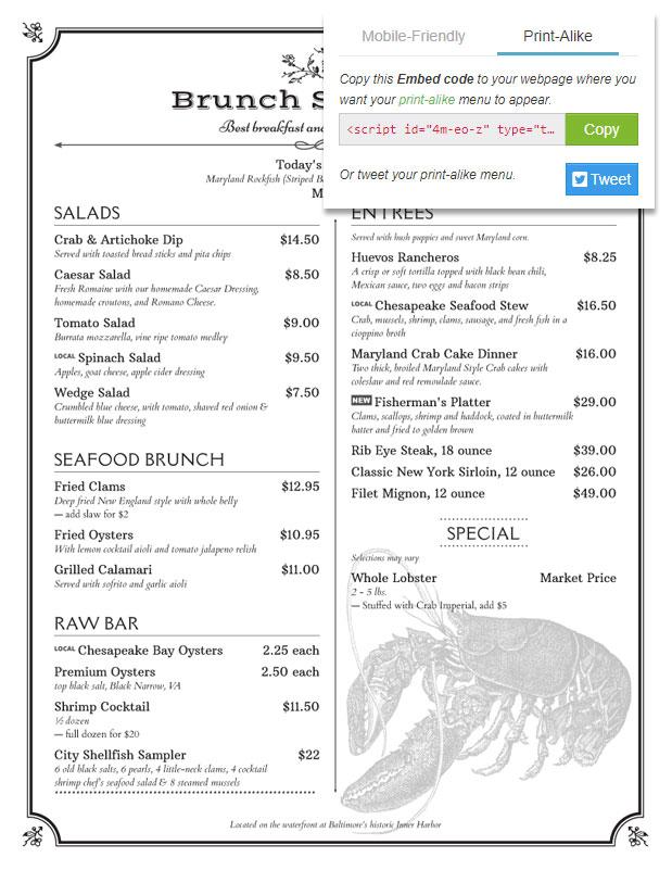 menu maker live example