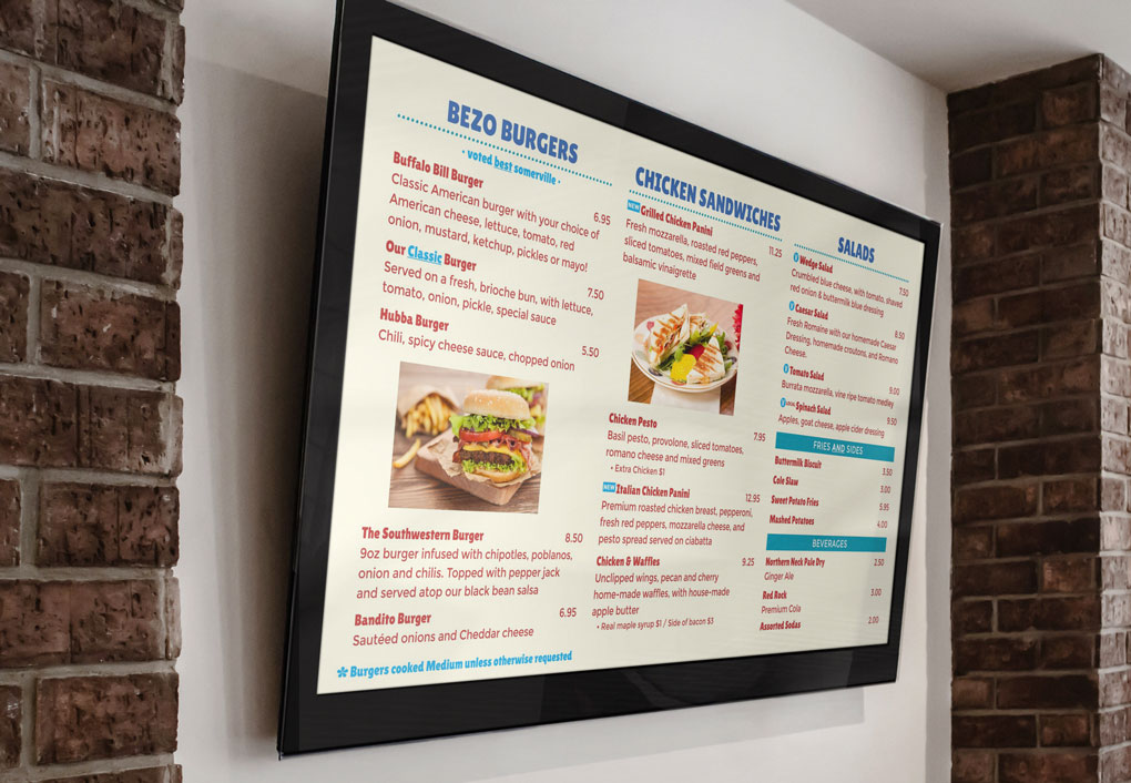 Digital Menu Board example