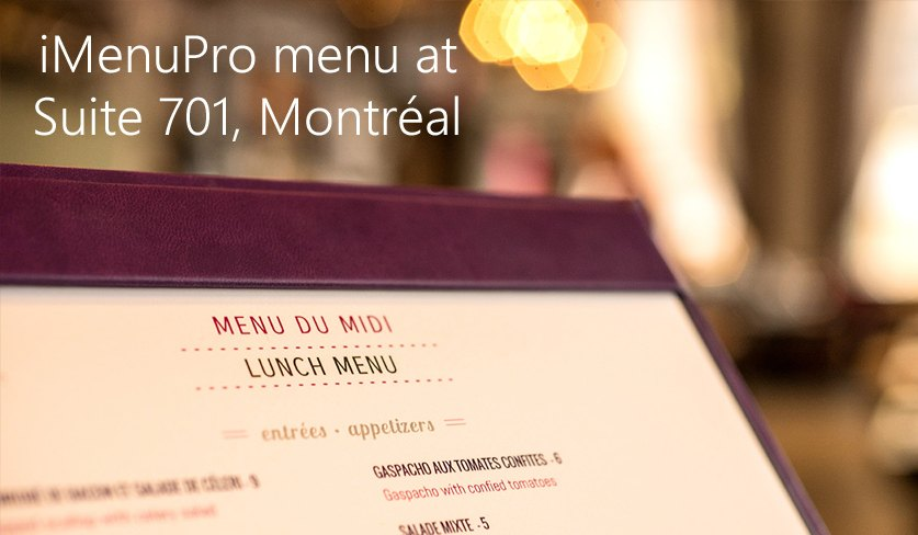 menu design at Suite 701