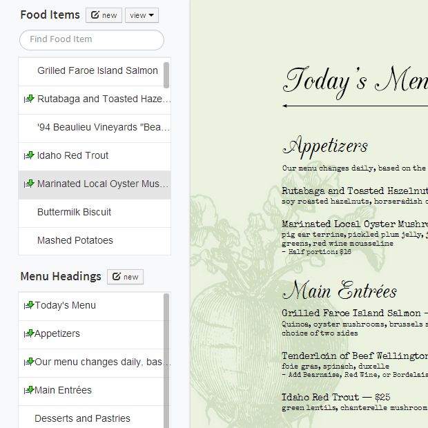menu design food list