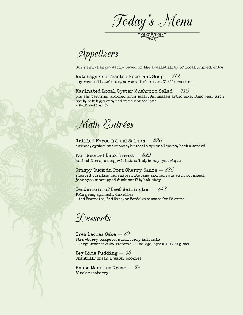 garden restaurant menu design