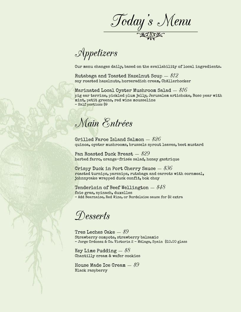 garden menu design