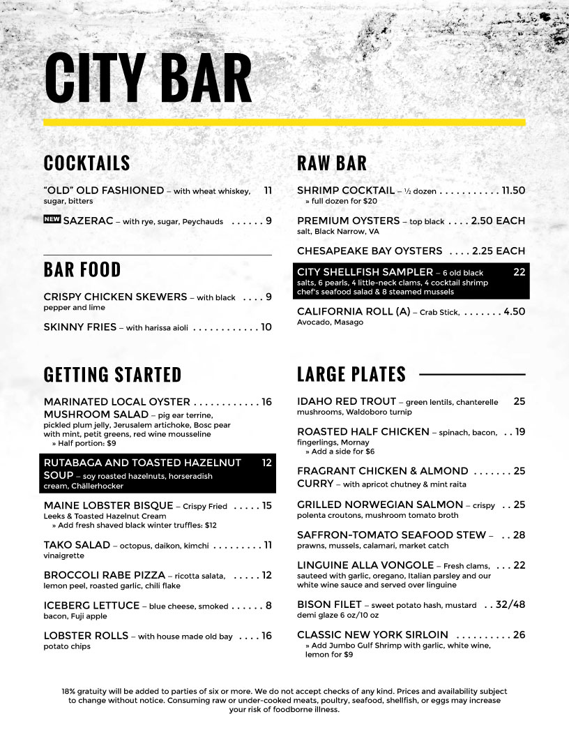 menu design City Bar