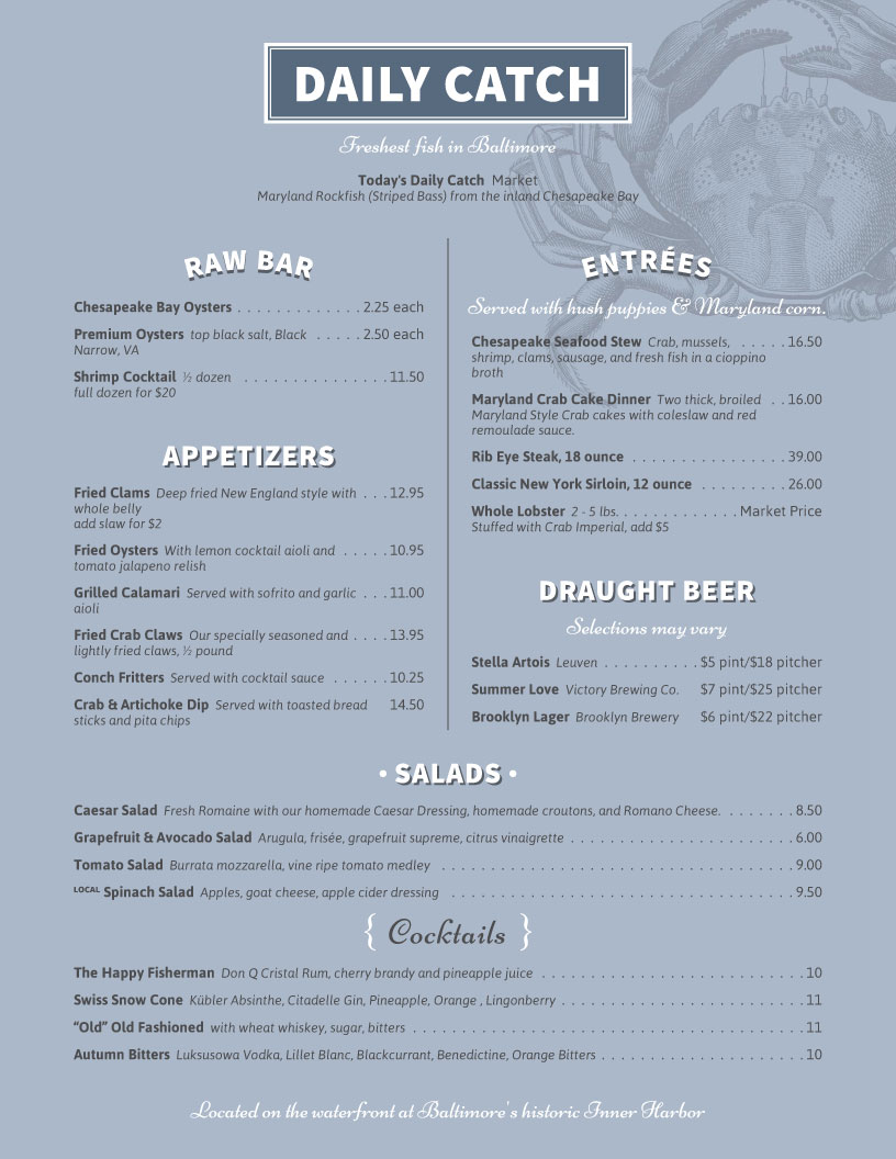 restaurant menu template Daily Catch