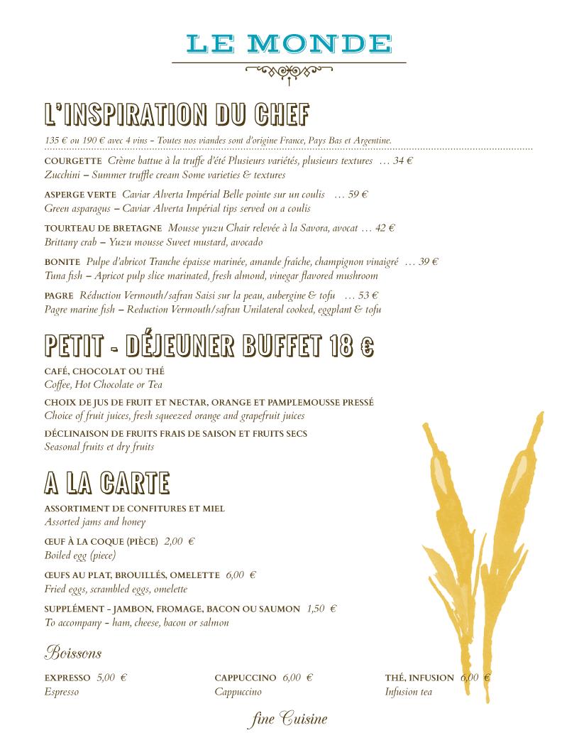 restaurant menu design le monde