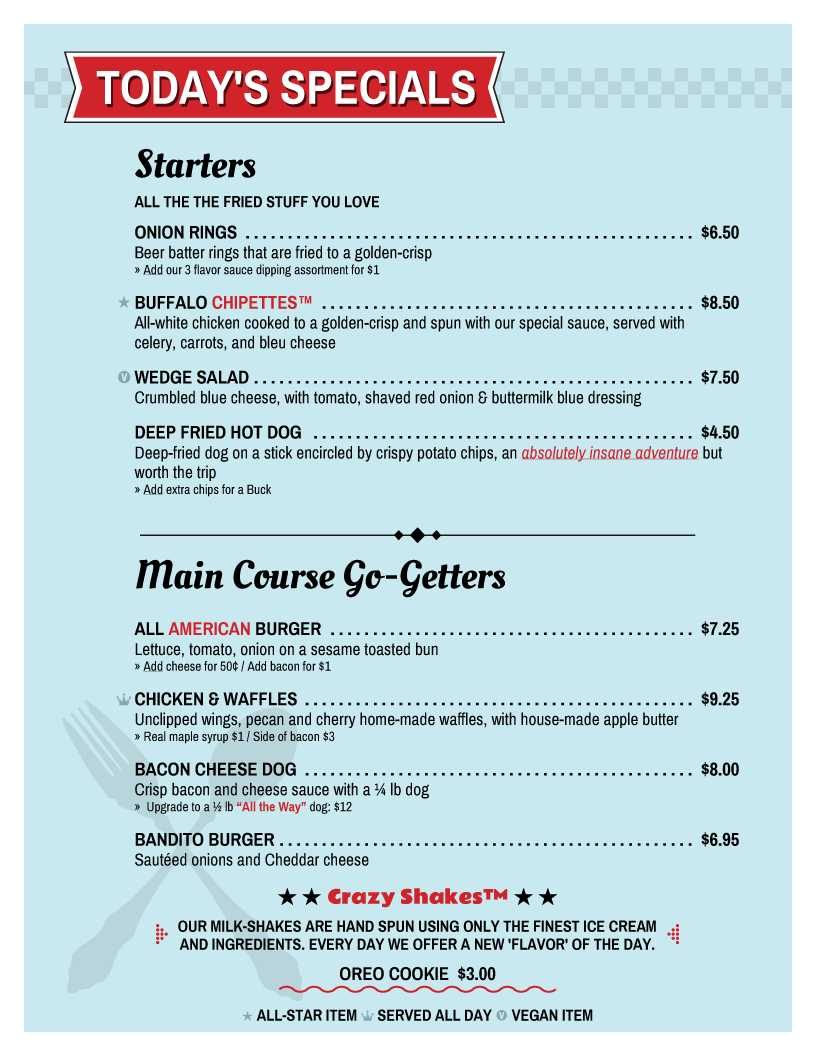 diner restaurant menu template