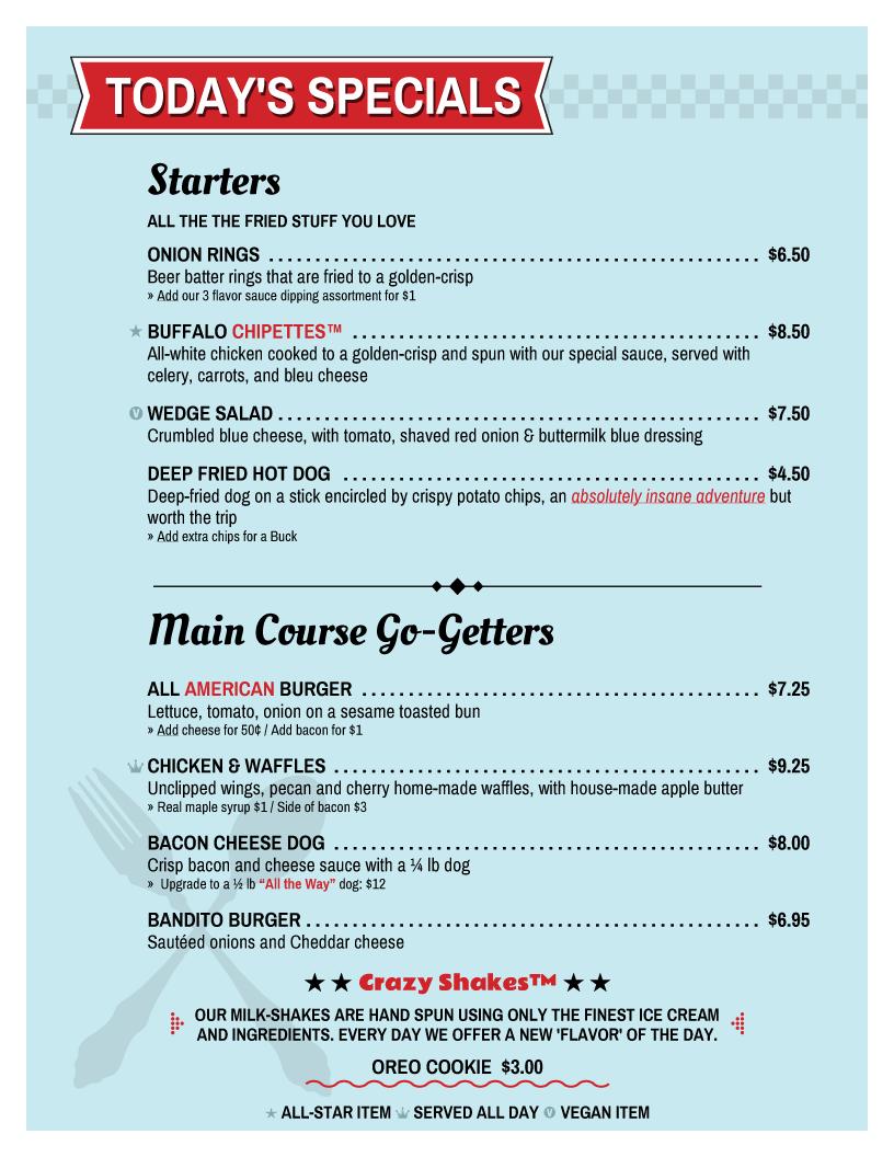 diner menu template