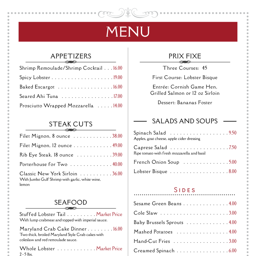 Restaurant Menu Ideas Free