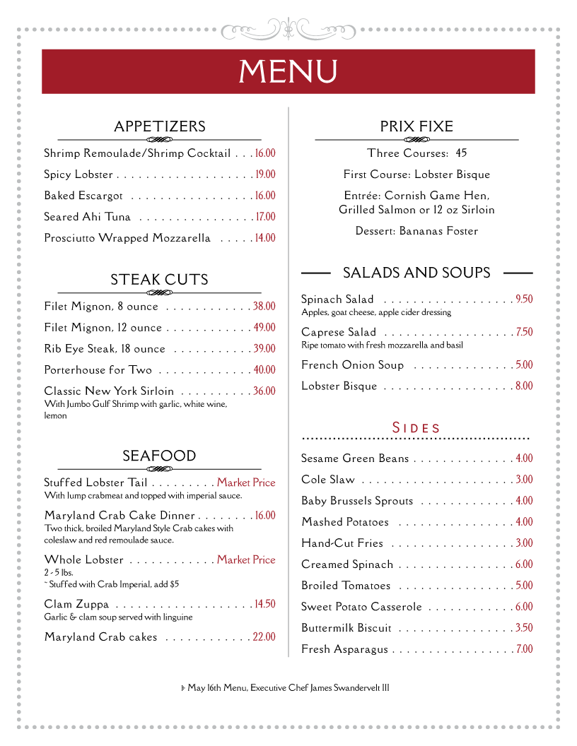 Menu Templates For Restaurants Imenupro