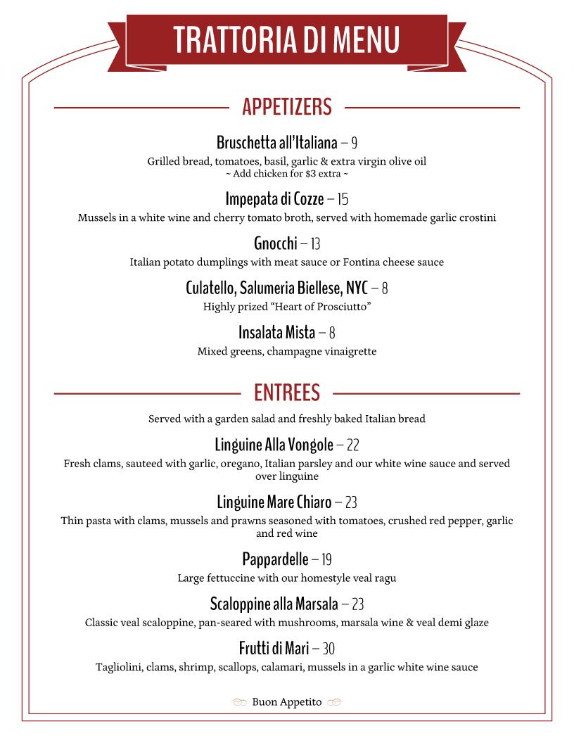 trattoria menu template