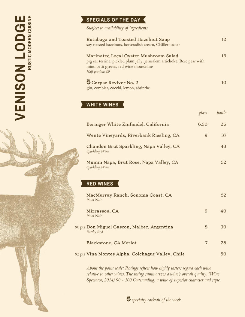 lodge restaurant menu template
